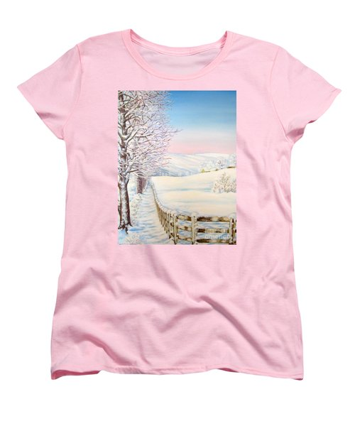 Women's T-Shirt (Standard Cut) featuring the painting Snow Path by Inese Poga