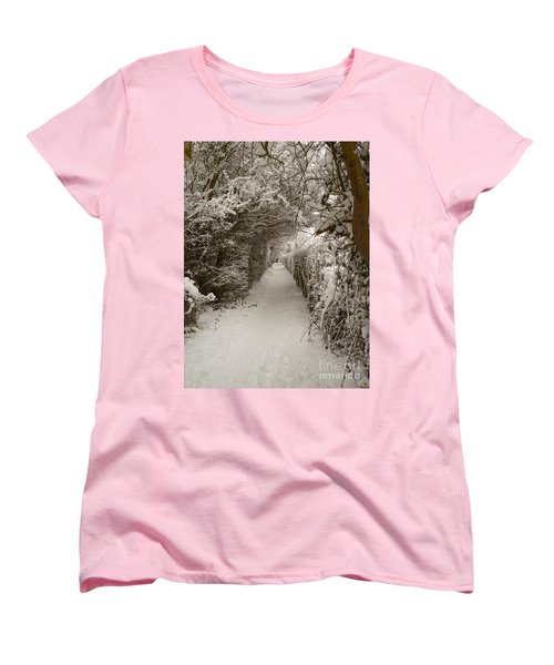 Women's T-Shirt (Standard Cut) featuring the photograph Snowy Path by Vicki Spindler
