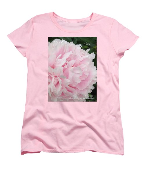 Women's T-Shirt (Standard Cut) featuring the digital art Soft Pink Peony by Jeannie Rhode