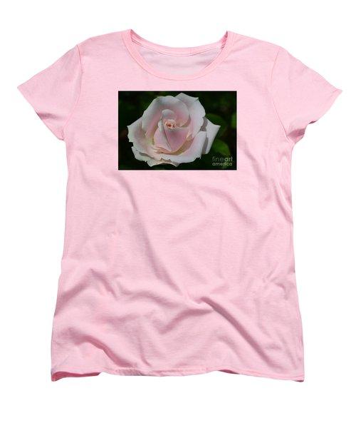 Women's T-Shirt (Standard Cut) featuring the photograph Soft Pink Rose by Jeannie Rhode