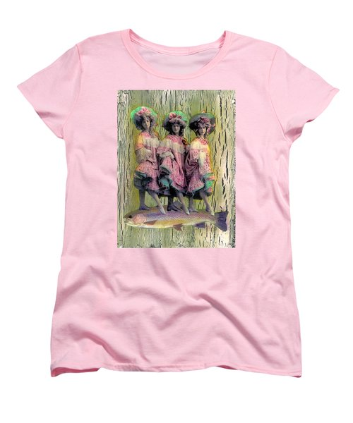 Women's T-Shirt (Standard Cut) featuring the mixed media Somethin' Fishy by Desiree Paquette