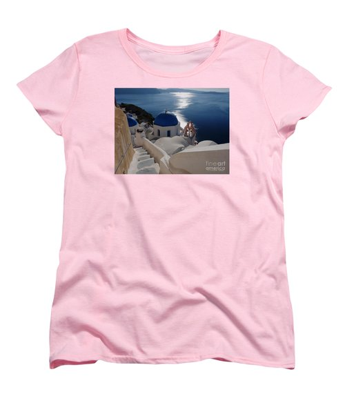 Stairway To The Blue Domed Church Women's T-Shirt (Standard Cut) by Lucinda Walter
