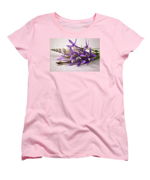 Women's T-Shirt (Standard Cut) featuring the photograph Starshine Laurentia Flowers And White Shell by Sandra Foster