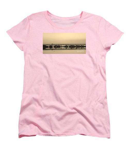 Women's T-Shirt (Standard Cut) featuring the photograph Still Lake by Clare Bevan