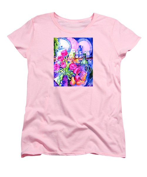 Women's T-Shirt (Standard Cut) featuring the painting Still Life With Tulips  by Trudi Doyle