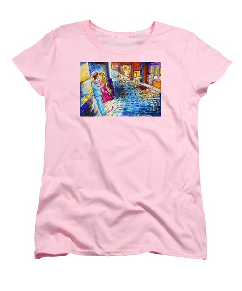 Street Kiss By Night  Women's T-Shirt (Standard Cut) by Ramona Matei