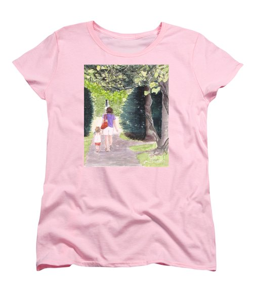 Women's T-Shirt (Standard Cut) featuring the painting Strolling With Mom by Carol Flagg