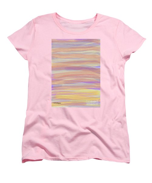 Women's T-Shirt (Standard Cut) featuring the digital art Abstract Sun Sea And Sand by Linsey Williams