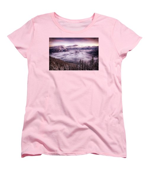Sunrise Over The Canadian Rockies Women's T-Shirt (Standard Cut) by Diane Dugas