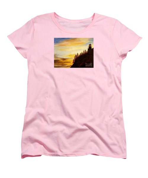 Women's T-Shirt (Standard Cut) featuring the painting Sunset At Bass Harbor by Lee Piper