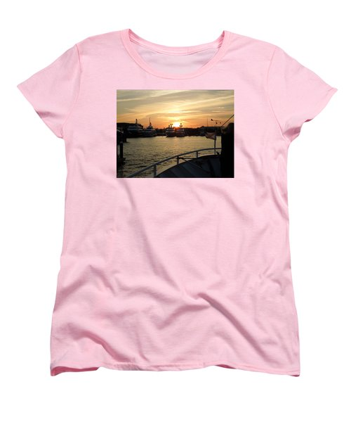 Women's T-Shirt (Standard Cut) featuring the photograph Sunset Over The Marina by Ron Davidson