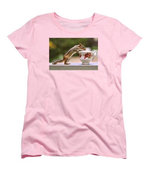 Tea Time With Chipmunk Women's T-Shirt (Standard Cut) by Peggy Collins