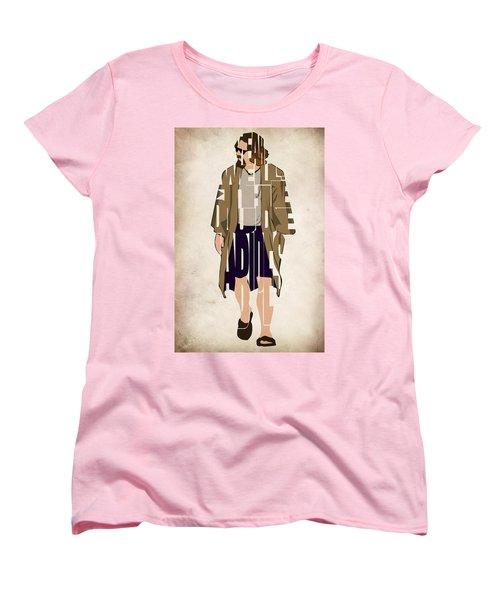 The Big Lebowski Inspired The Dude Typography Artwork Women's T-Shirt (Standard Cut) by Ayse Deniz