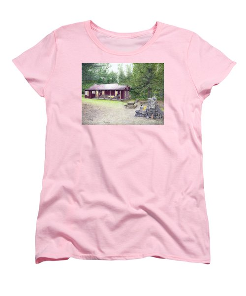 Women's T-Shirt (Standard Cut) featuring the painting The Cabin In The Woods by Albert Puskaric