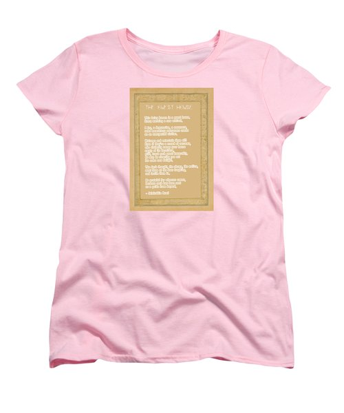 The Guest House Poem By Rumi Women's T-Shirt (Standard Cut) by Celestial Images