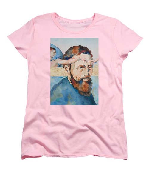 Women's T-Shirt (Standard Cut) featuring the painting The Mind Of Michelangelo by Michele Myers
