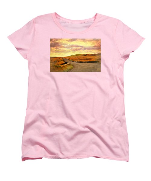 Women's T-Shirt (Standard Cut) featuring the photograph The Road Less Trraveled Sunset by Marty Koch