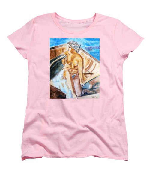 Women's T-Shirt (Standard Cut) featuring the painting The Woman Rower by Jasna Dragun