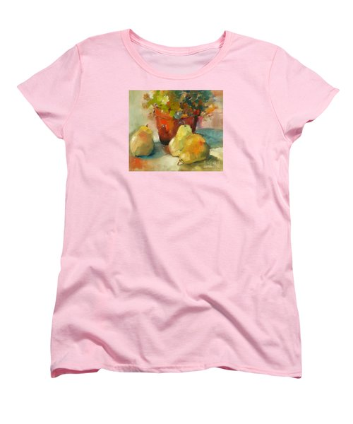 Women's T-Shirt (Standard Cut) featuring the painting Three Pears And A Pot by Michelle Abrams