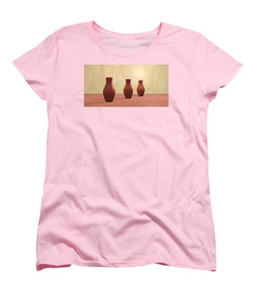 Women's T-Shirt (Standard Cut) featuring the digital art Three Vases by Gabiw Art