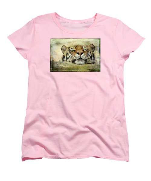 Tiger Snooze Women's T-Shirt (Standard Cut) by Athena Mckinzie