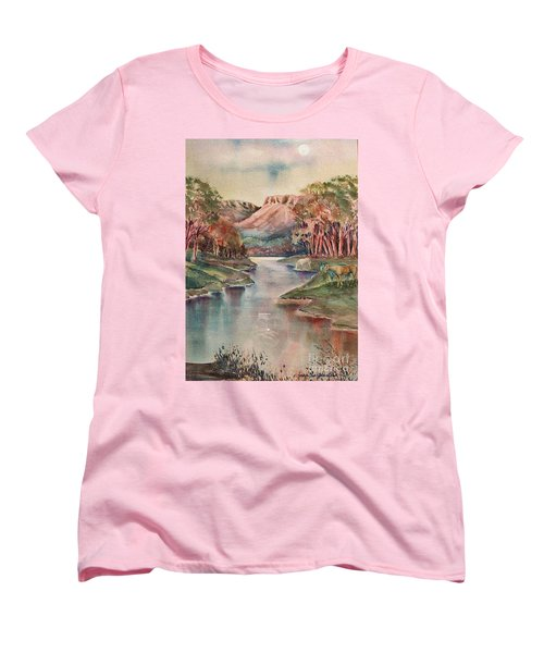 Women's T-Shirt (Standard Cut) featuring the painting Timbercreek Canyon Dawn by Joan Hartenstein