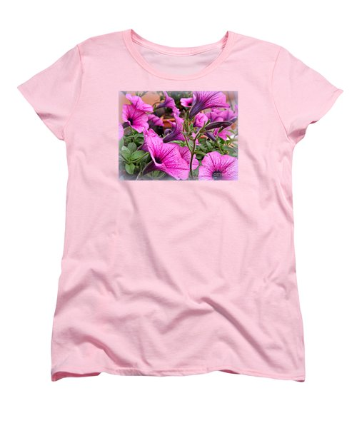 Women's T-Shirt (Standard Cut) featuring the photograph Trailing Petunias by Clare Bevan