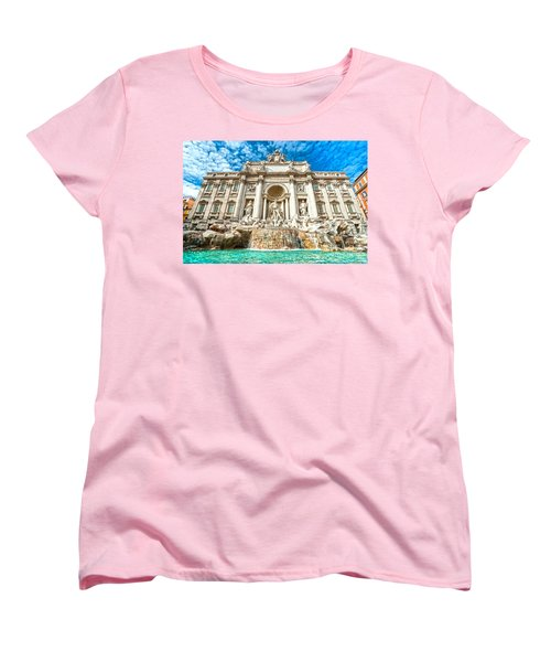 Trevi Fountain - Rome Women's T-Shirt (Standard Cut) by Luciano Mortula