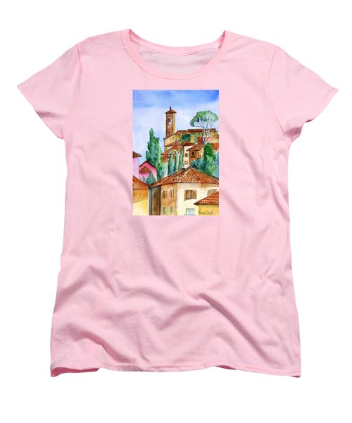 Women's T-Shirt (Standard Cut) featuring the painting Tuscan Rooftops  -montecatini Alto by Trudi Doyle