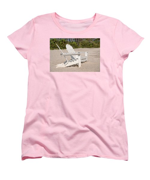 Women's T-Shirt (Standard Cut) featuring the photograph Two Beach Chairs by Charles Beeler