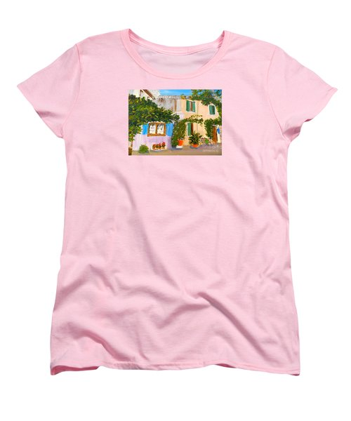 Women's T-Shirt (Standard Cut) featuring the painting Umbera Courtyard by Pamela  Meredith