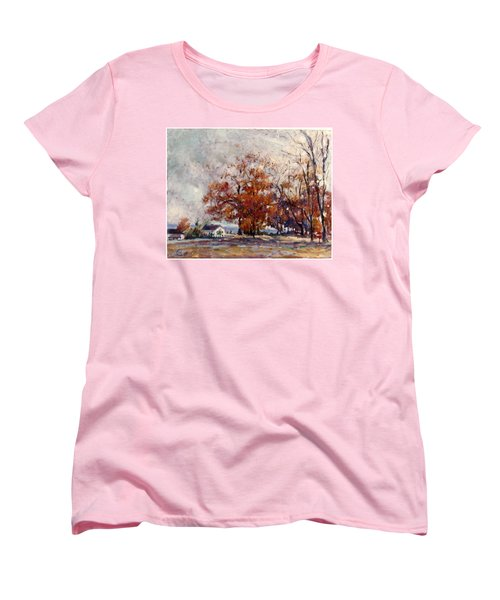 Women's T-Shirt (Standard Cut) featuring the painting Up State Ny - Nyack by Walter Casaravilla