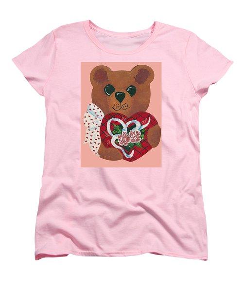 Women's T-Shirt (Standard Cut) featuring the painting Valentine Hug by Barbara McDevitt