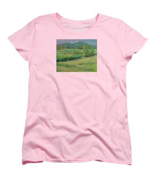 Valley Ranch Rural Western Landscape Painting Oregon Art  Women's T-Shirt (Standard Cut) by Elizabeth Sawyer