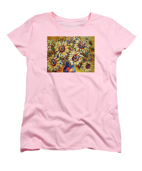 Women's T-Shirt (Standard Cut) featuring the painting Vibrant Sunflower Essence by Natalie Holland
