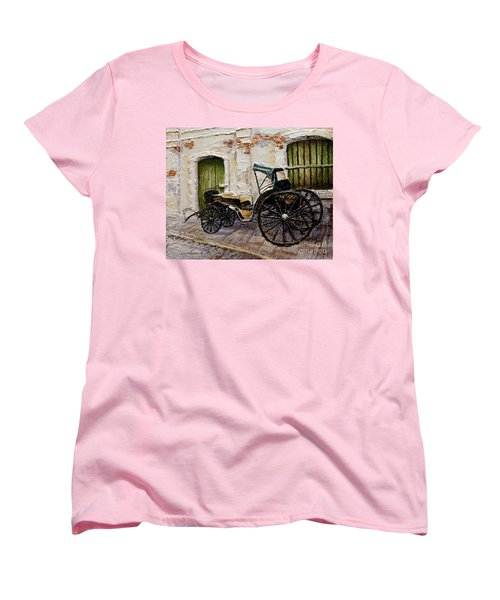 Women's T-Shirt (Standard Cut) featuring the painting Vigan Carriage 2 by Joey Agbayani