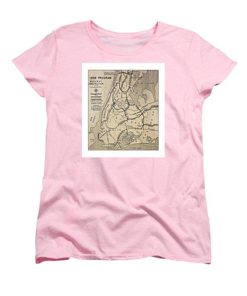 Vintage Newspaper Map Women's T-Shirt (Standard Cut) by Susan Leggett