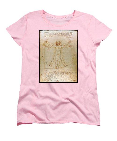 Vitruvian Man By Leonardo Da Vinci  Women's T-Shirt (Standard Cut) by Karon Melillo DeVega