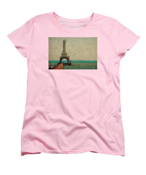 Walking On The Breakwater Women's T-Shirt (Standard Cut) by Mary Machare