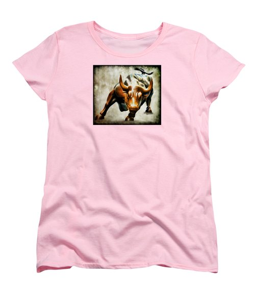 Wall Street Bull Women's T-Shirt (Standard Cut) by Athena Mckinzie