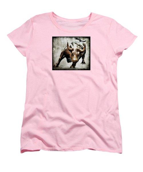 Wall Street Bull II Women's T-Shirt (Standard Cut) by Athena Mckinzie