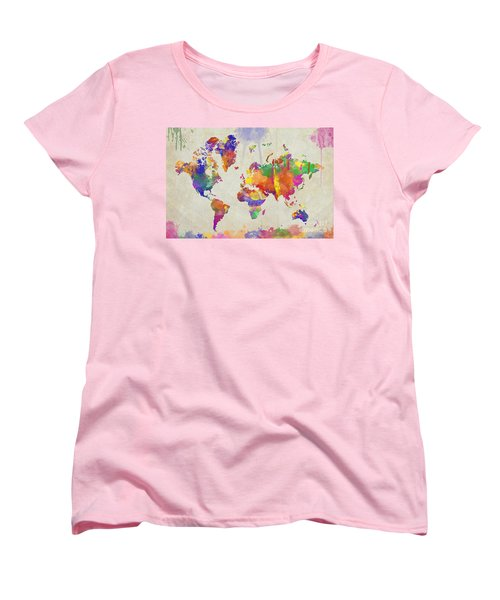 Watercolor Impression World Map Women's T-Shirt (Standard Cut) by Zaira Dzhaubaeva