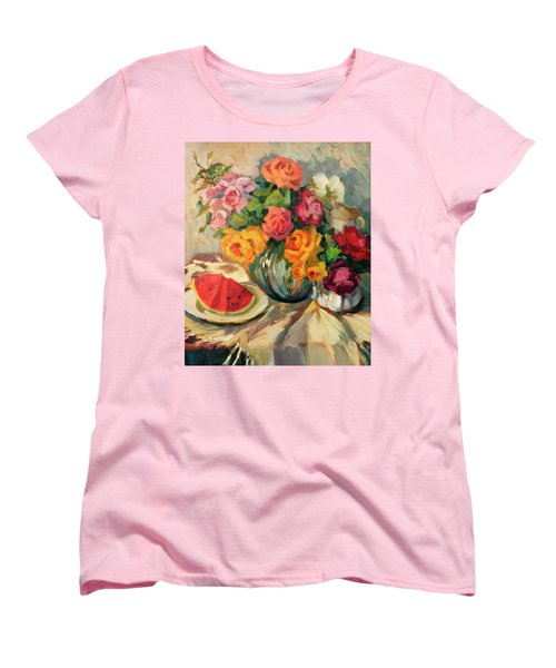 Watermelon And Roses Women's T-Shirt (Standard Cut) by Diane McClary