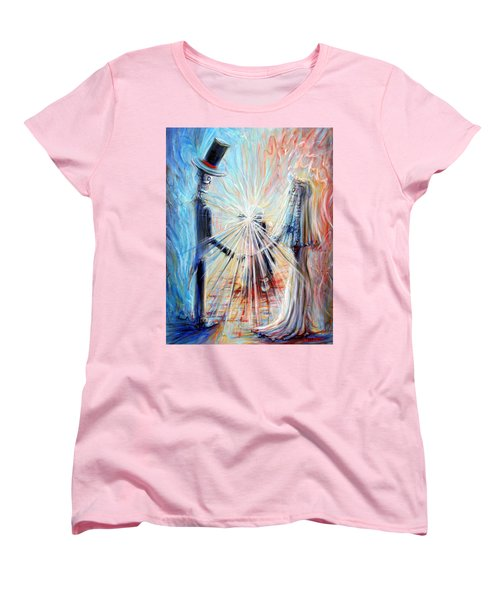 Women's T-Shirt (Standard Cut) featuring the painting Wedding Photographer by Heather Calderon