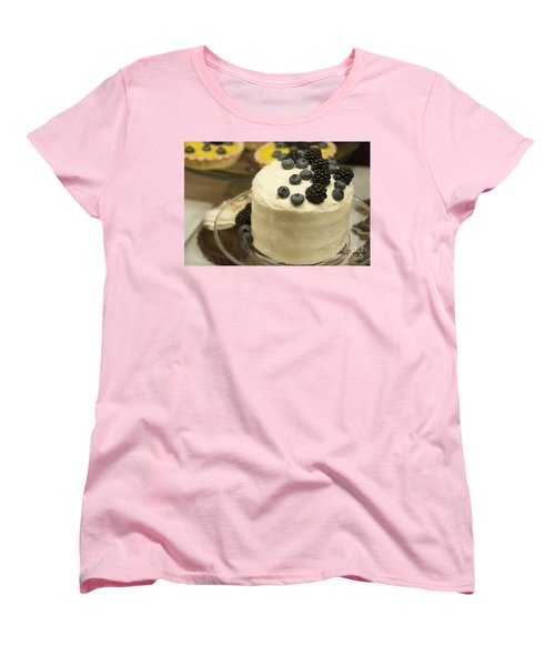 White Frosted Cake With Berries Women's T-Shirt (Standard Cut) by Juli Scalzi