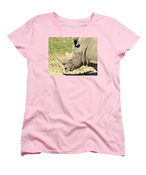 White Rhinoceros Portrait Women's T-Shirt (Standard Cut) by CML Brown