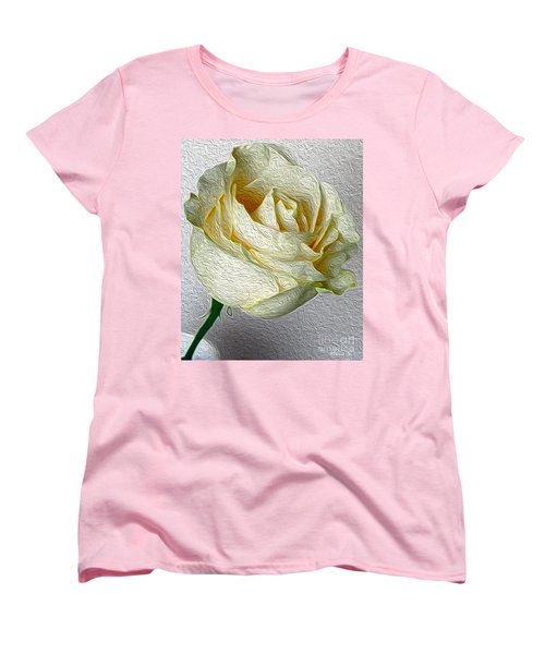 Women's T-Shirt (Standard Cut) featuring the photograph White Rose In Oil Effect by Nina Silver