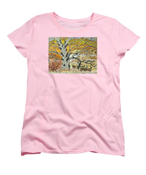 Women's T-Shirt (Standard Cut) featuring the painting Whitetails And White Oak Tree by Jeffrey Koss