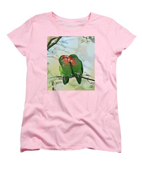 Women's T-Shirt (Standard Cut) featuring the photograph Wild Peach Face Love Bird Whispers by Tom Janca