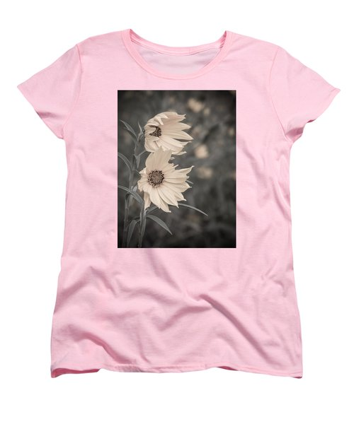 Women's T-Shirt (Standard Cut) featuring the photograph Windblown Wild Sunflowers by Patti Deters